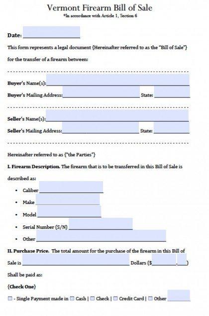 Free Vermont Firearm/Gun Bill of Sale Form PDF Word (doc)