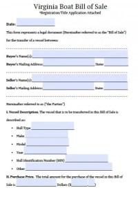 Free Virginia Boat Bill of Sale Form
