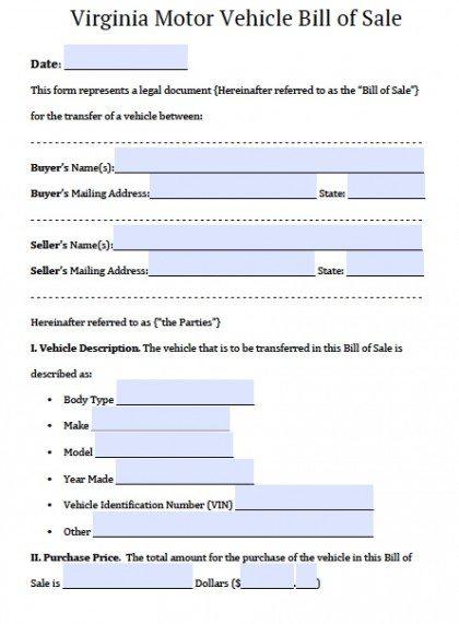 Free Virginia DMV Bill of Sale Form PDF Word (doc) - motor vehicle bill of sale