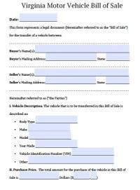 Free Virginia DMV Bill of Sale Form | PDF | Word (.doc)
