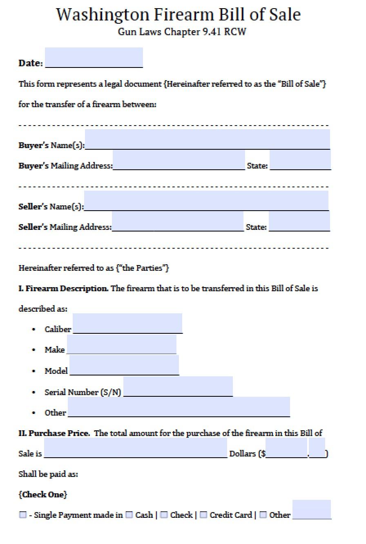 Bill Of Sale Form Wa   Cv Writing Service Kenya