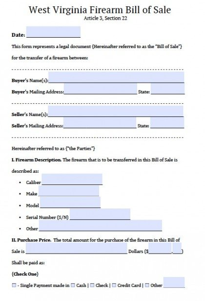Free West Virginia Firearm/Gun Bill of Sale Form PDF Word (doc)