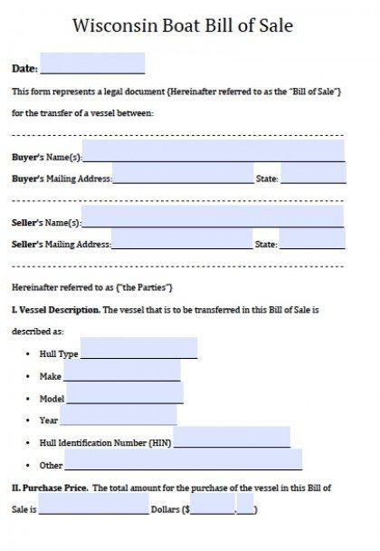 Free Wisconsin Boat Bill of Sale Form PDF Word (doc)