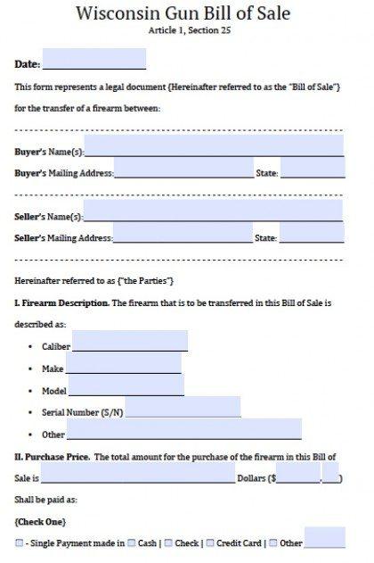 Free Wisconsin Firearm/Gun Bill of Sale Form PDF Word (doc)