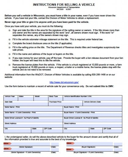 Free Wisconsin DMV (Vehicle) Bill of Sale Form PDF Word (doc) - department of motor vehicles bill of sale form