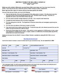 Free Wisconsin DMV (Vehicle) Bill of Sale Form   PDF ...
