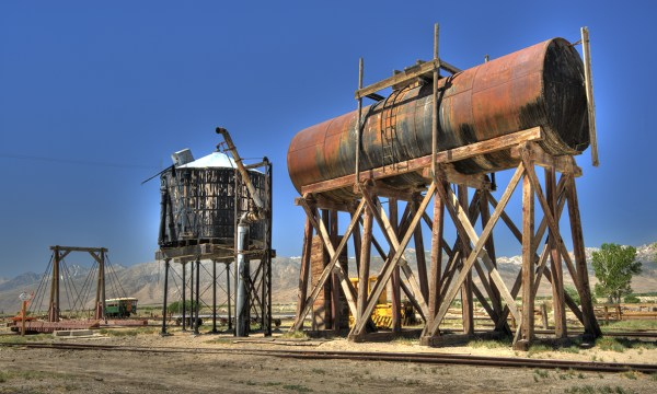 Water and fuel towers with the old turntable in the background.