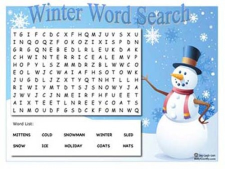 Winter Themed Word Search Sing Laugh Learn