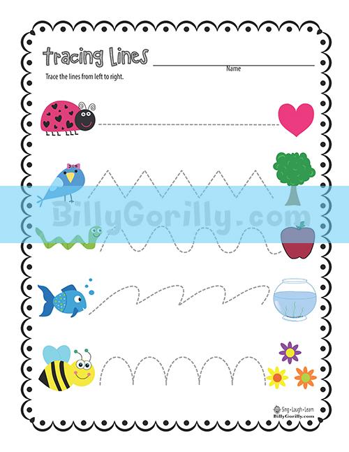 Friday Freebie \u2013 Tracing Lines Worksheet Printable Sing Laugh Learn