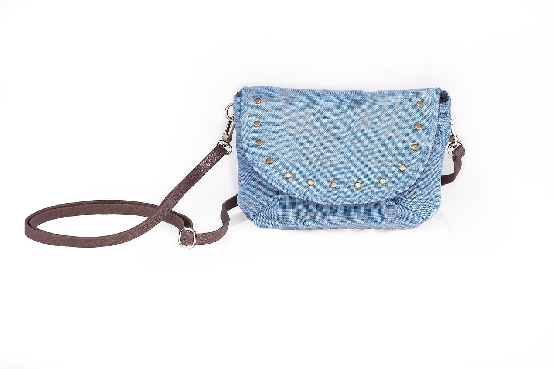 Le Minibag - Sac avec rivets éthique - Bleu pâle