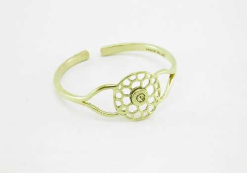 Recycled Brass Bracelet – Round Bees Nest And Bullet Rim