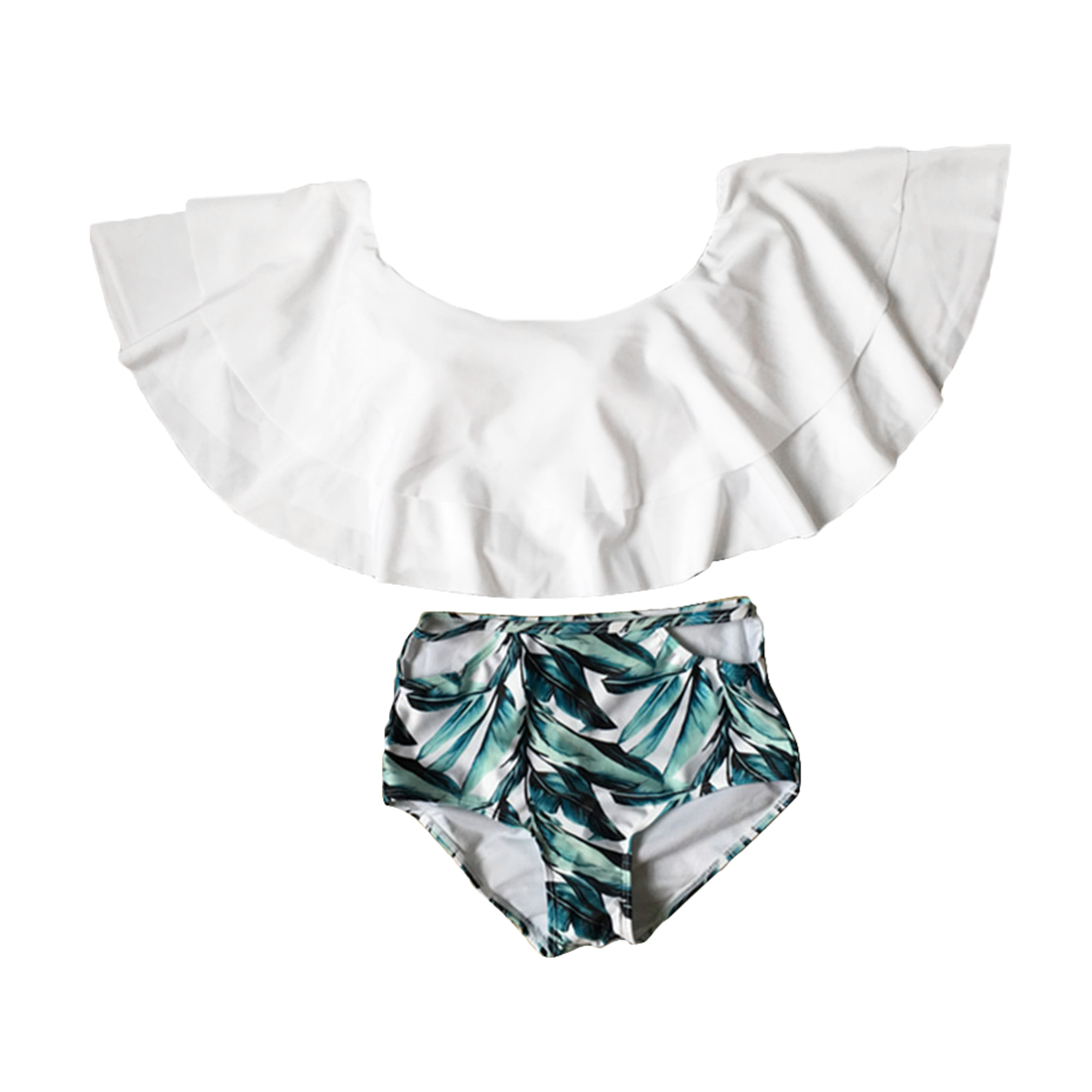 Knus Wonen Knus Off Shoulder Bikini Set Women Two Piece Off Shoulder Ruffled
