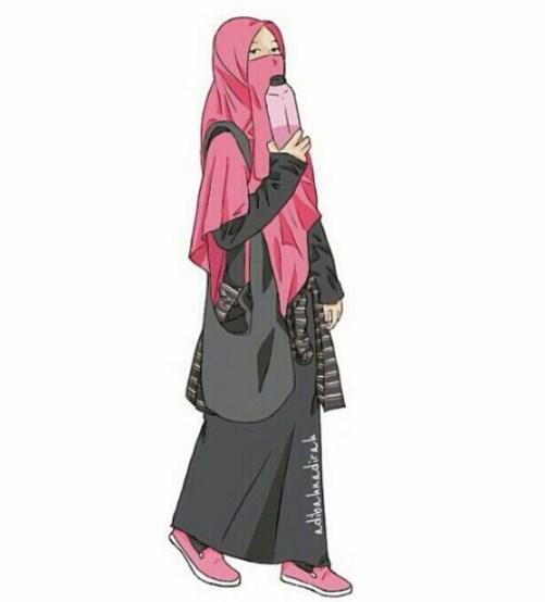 Foto Kartun Muslimah Cantik Berkacamata