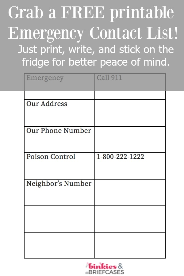 Free Printable Emergency Contact List \u2022 Binkies and Briefcases - printable contact list