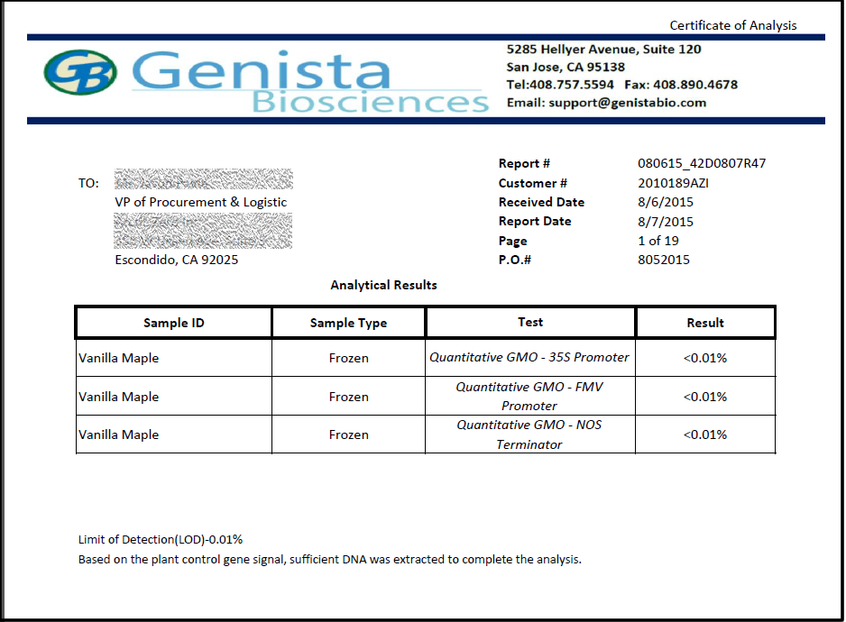 Sample Lab Report \u2013 Non GMO Certification