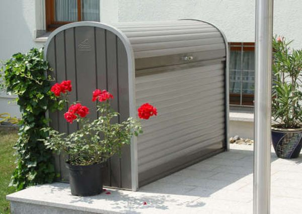 Opberghok Tuin Fietsenbox, Metalen Afvalcontainer - Biohort Afvalcontainer