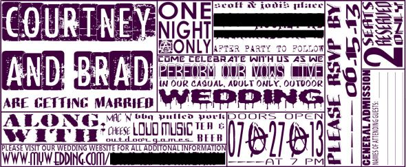 Our badass DIY concert ticket invites ( - concert ticket invitations