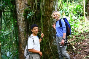 2015 Gentry Award Winner Sarah Jane Wilson and the Santa Lucia Cloud Forest Reserve's Jorge Noe Morales in the Ecuadorian Andes (Photo by Jake Brennan).