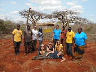 First completed beehive with the entire team at the research centre. Taken by Chris Iverson.