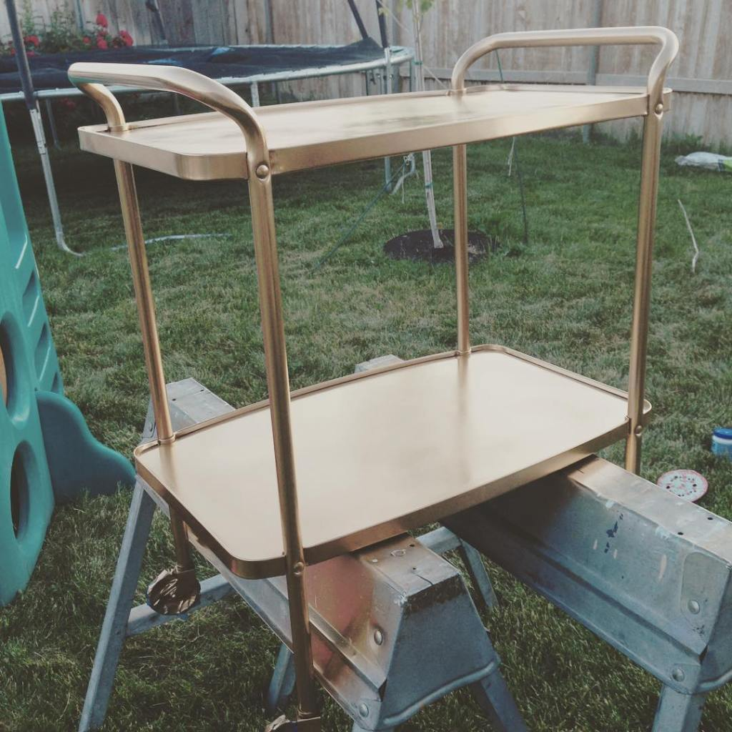 fresh coat of gold for my thrift store drink cart!