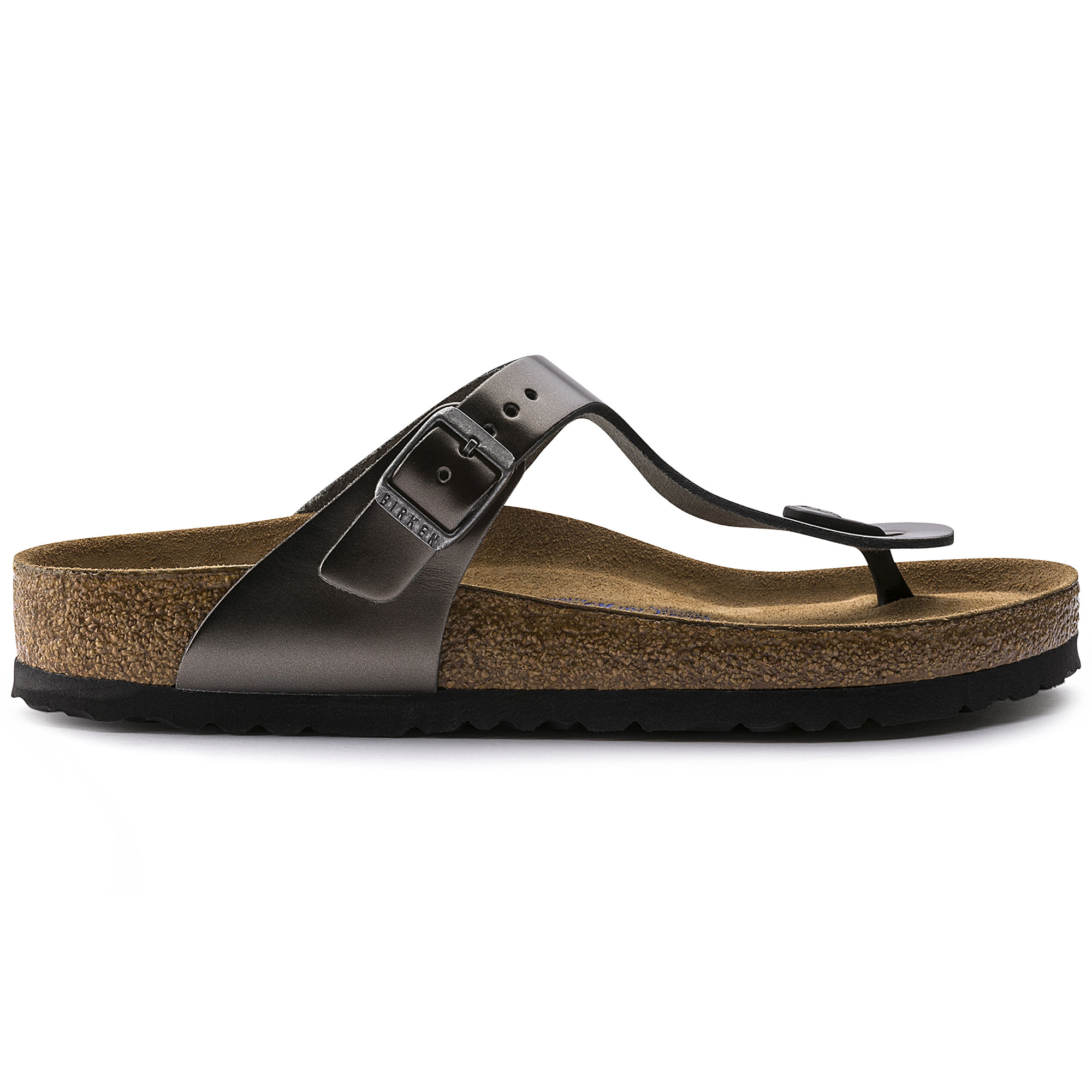 Birkenstock Gizeh Metallic Anthracite Schmal Gizeh Natural Leather