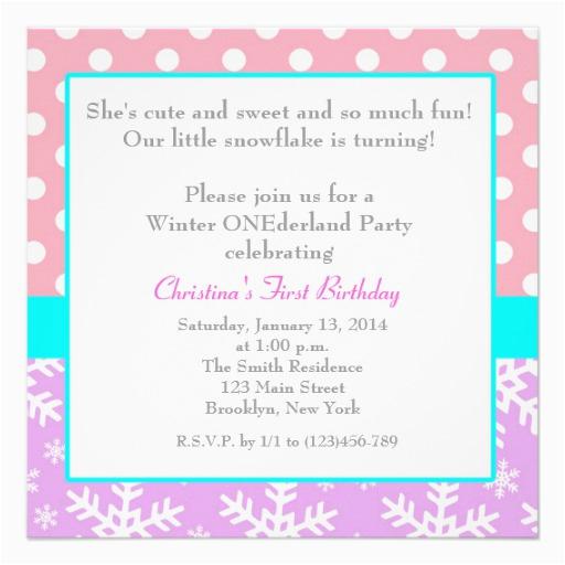 Snowflake 1st Birthday Invitations Winter Onederlan Snowflake 1st