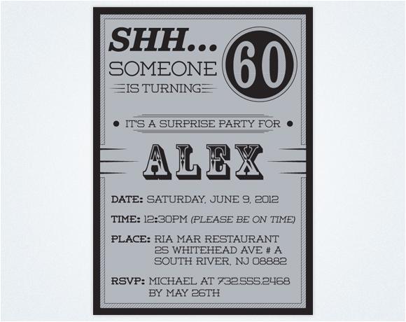 Surprise 60th Birthday Invitation Templates Free BirthdayBuzz