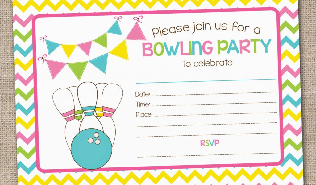 Fillable Birthday Invitations Free Printable Bowling Party
