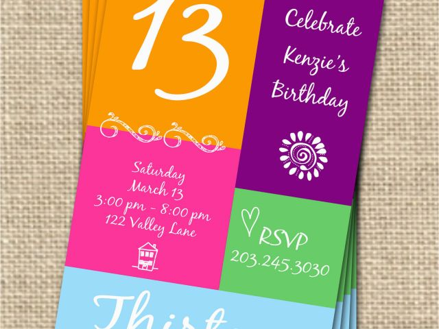 Free Printable 13th Birthday Party Invitations 7 Best Images Of Free