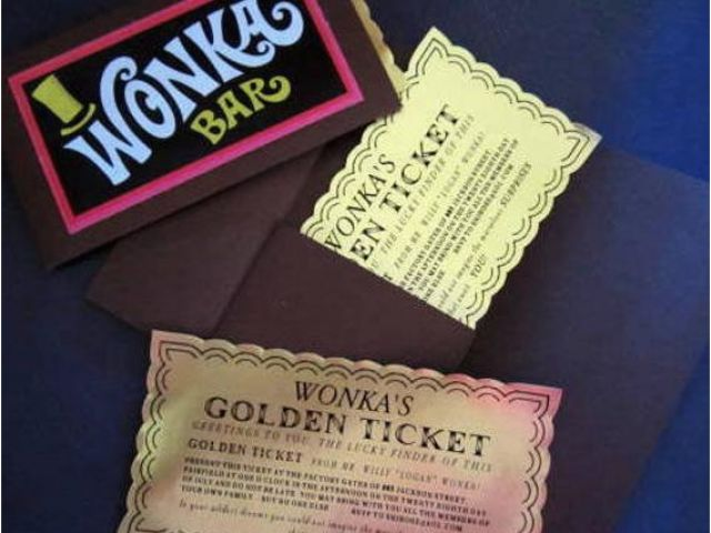 Golden Ticket Birthday Invitation 12 Willy Wonka Golden Tickets as