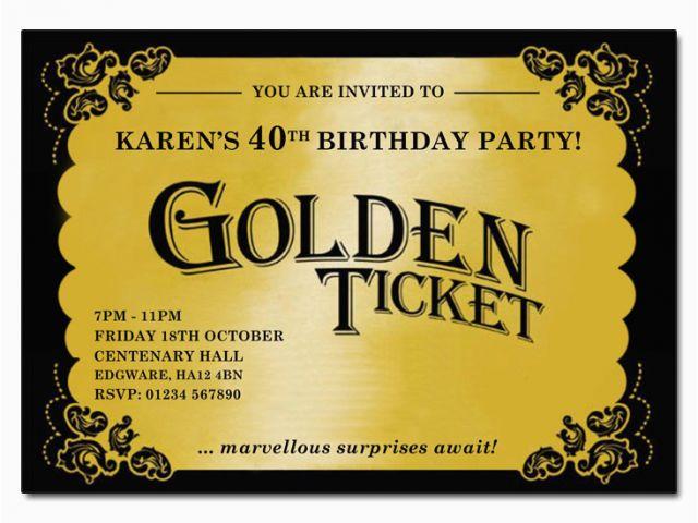 Golden Ticket Birthday Party Invitations Golden Ticket Invitation