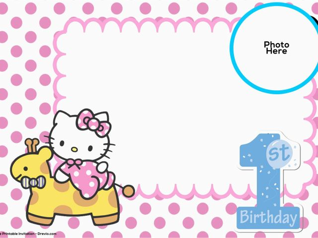 Hello Kitty Birthday Invitations Free Download Free Hello Kitty 1st