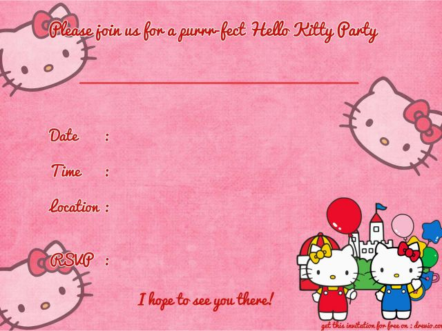 Hello Kitty Birthday Invites Free Printables Free Printable Hello