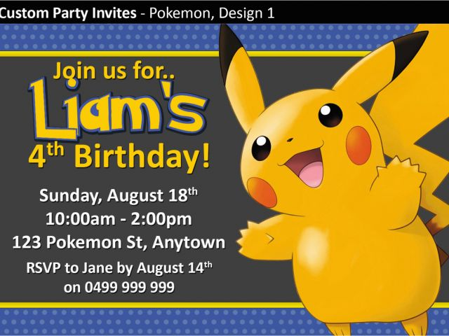 Pokemon Birthday Party Invitation Wording Pokemon Birthday