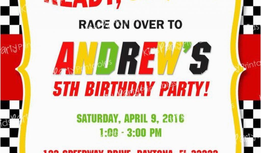 Race Car themed Birthday Invitations Race Car Birthday Invitation