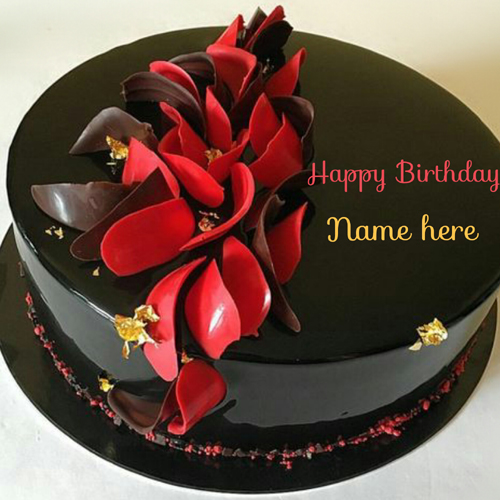 Get Your Name on Black Current Chocolate Birthday Cake