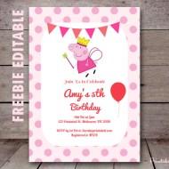 Free Editable Peppa Pig Invitation Princess