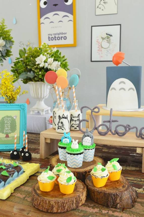 Colorful-Totoro-Birthday-Party-Frosted-Cupcakes