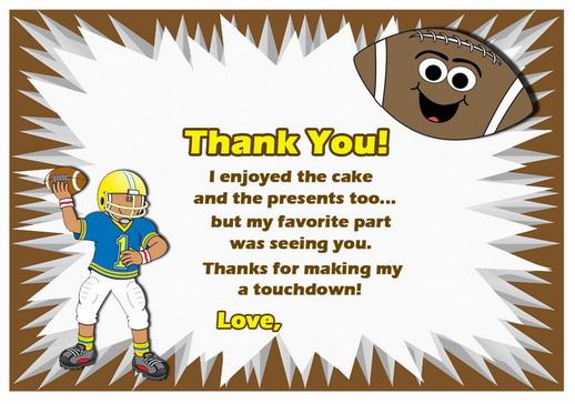 Football Thank you Cards \u2013 Birthday Printable