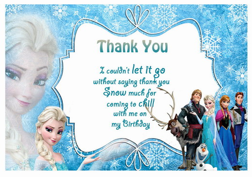 Frozen Thank you Cards Birthday Printable