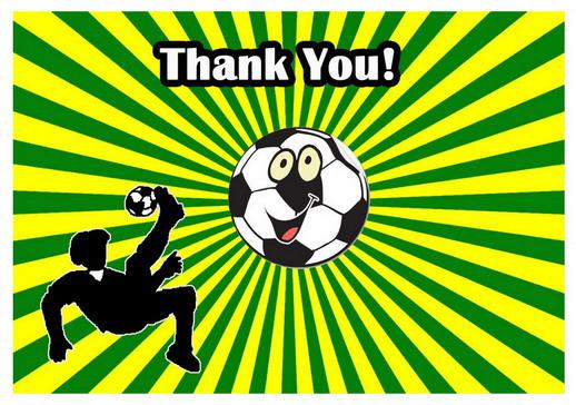 Soccer Thank you Cards Birthday Printable