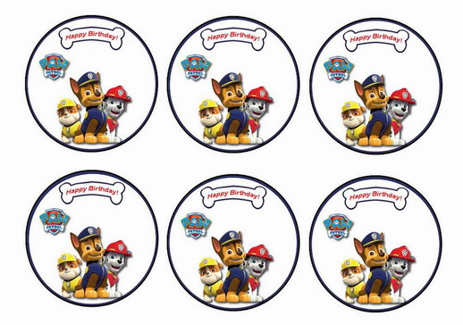 Paw Patrol Cupcake Toppers Birthday Printable