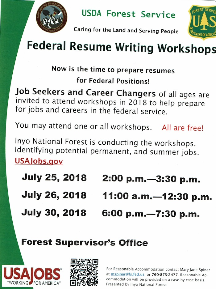 Federal Resume Writing Workshops \u2013 July 25, 26  30 \u2013 Bishop TERO