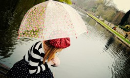 French girl with umbrella