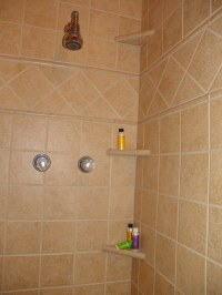 CERAMIC SHOWER SHELVES. SHOWER SHELVES - BROWN CERAMIC TILE
