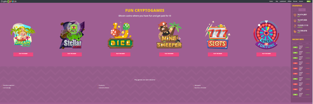 CryptoGames homepage