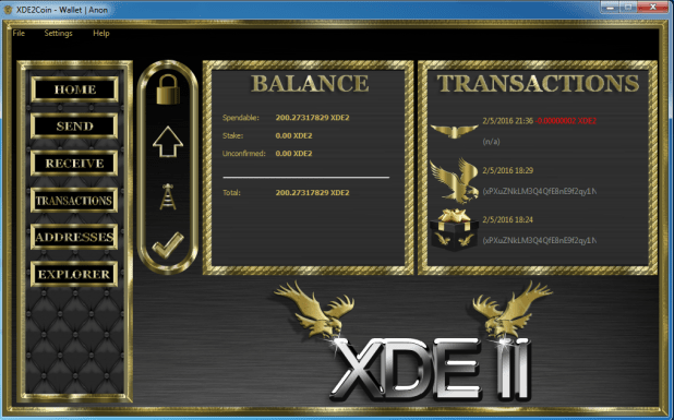 XDE2 wallet