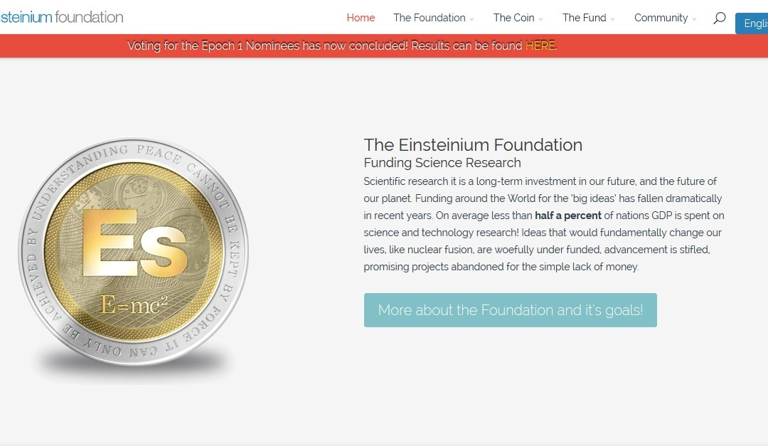 New Cryptocurrency Einsteinium Supports Ground Breaking Scientific Research – Funding the Future With The Future of Currency