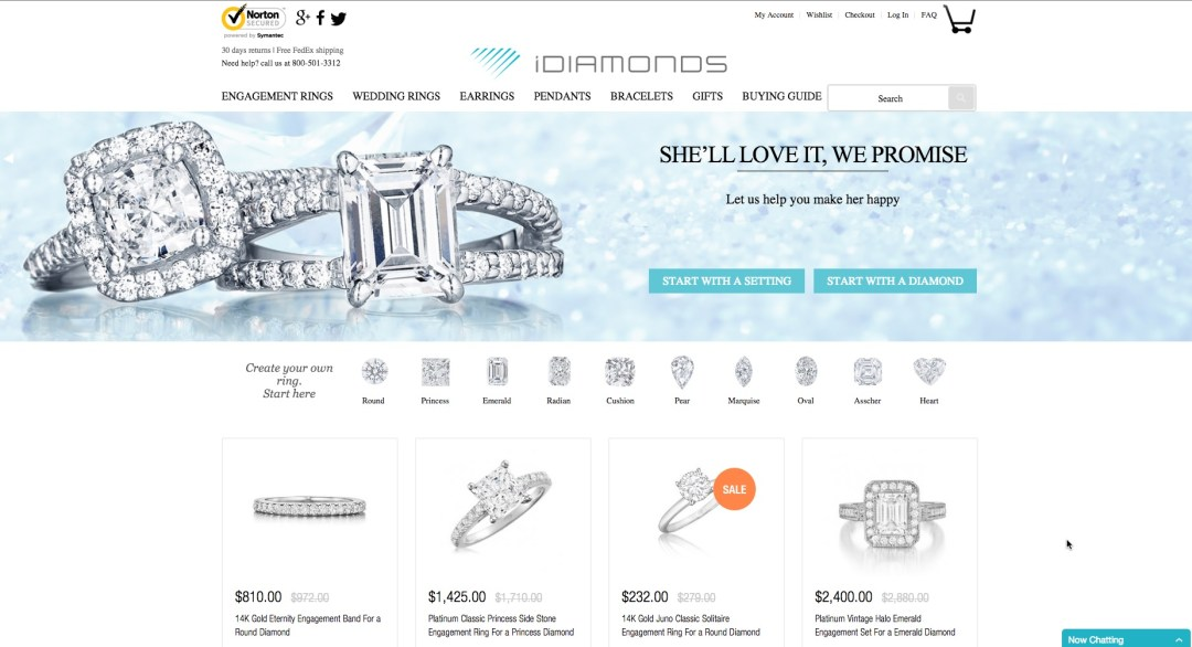 Trade Bitcoin For Carats, Diamonds and Diamond Jewelry at iDIAMONDS Established Online Jewelry eCommerce Outlet