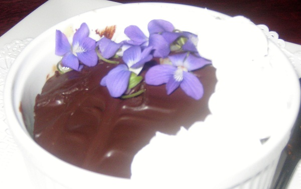 Chocolate Cake with Violets with a Twist